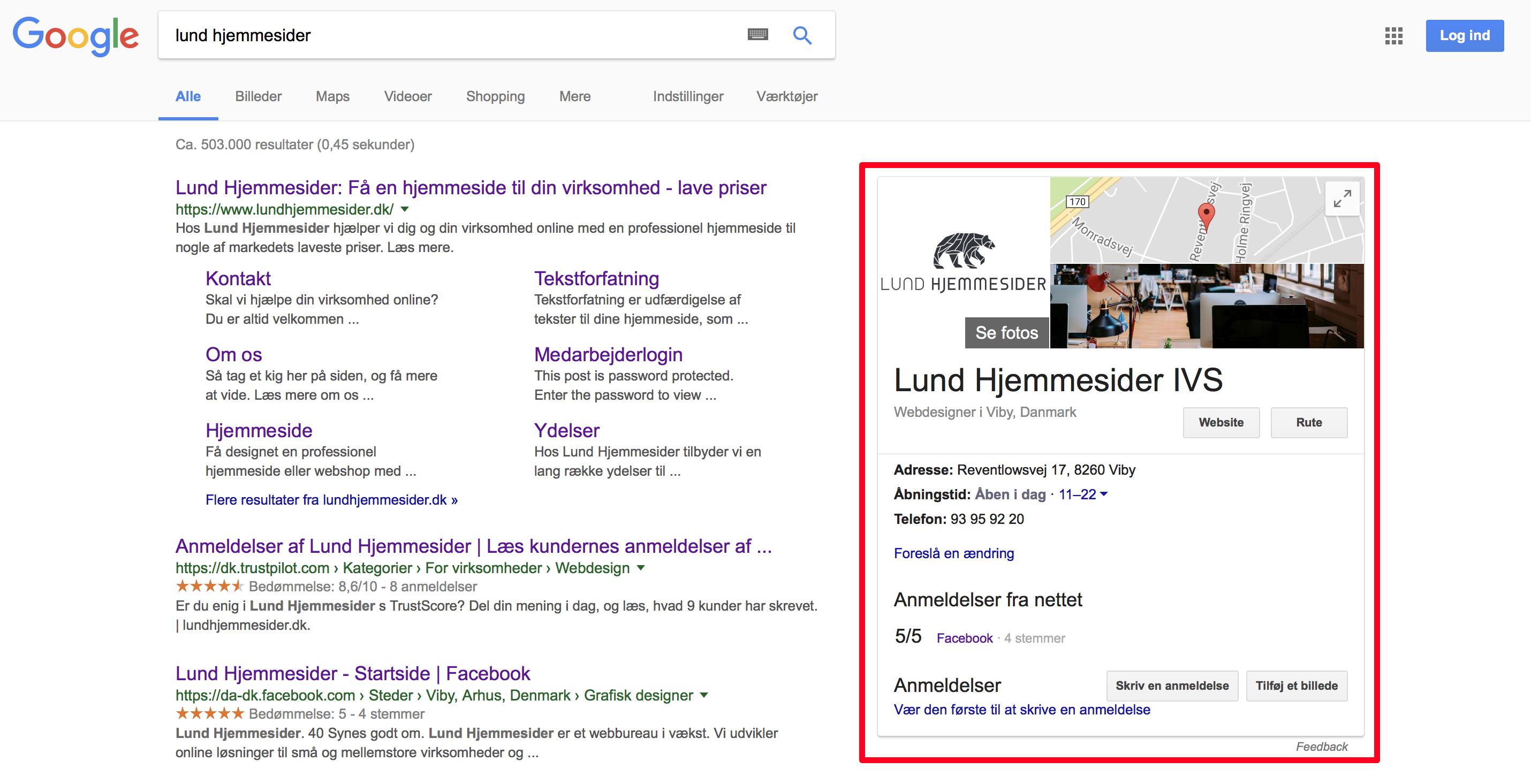 Google My Business er et gratis værktøj fra Google der giver dig mulighed for at vise din virksomhed i preview i søgeresultaterne samt komme på Google Maps, så det er let for dine kunder at finde din forretning.
